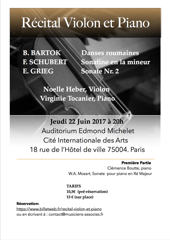 Récital Violon et piano Paris, 22 juin 2017 20h