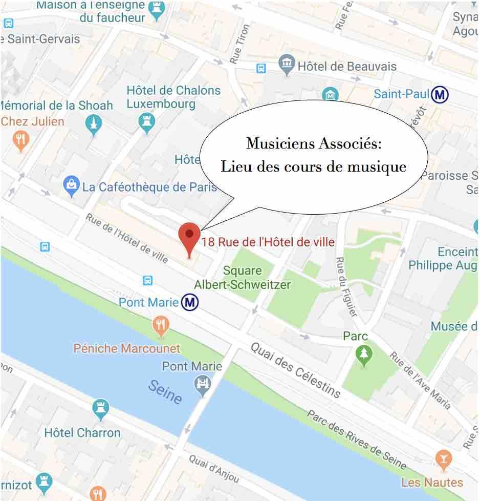 Lieu des cours de musique adulte: 18 rue de l'hôtel de ville Paris Musiciens Associés-1